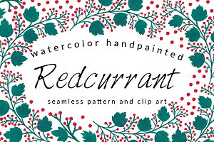 Redcurrants Pattern and Clip Arts