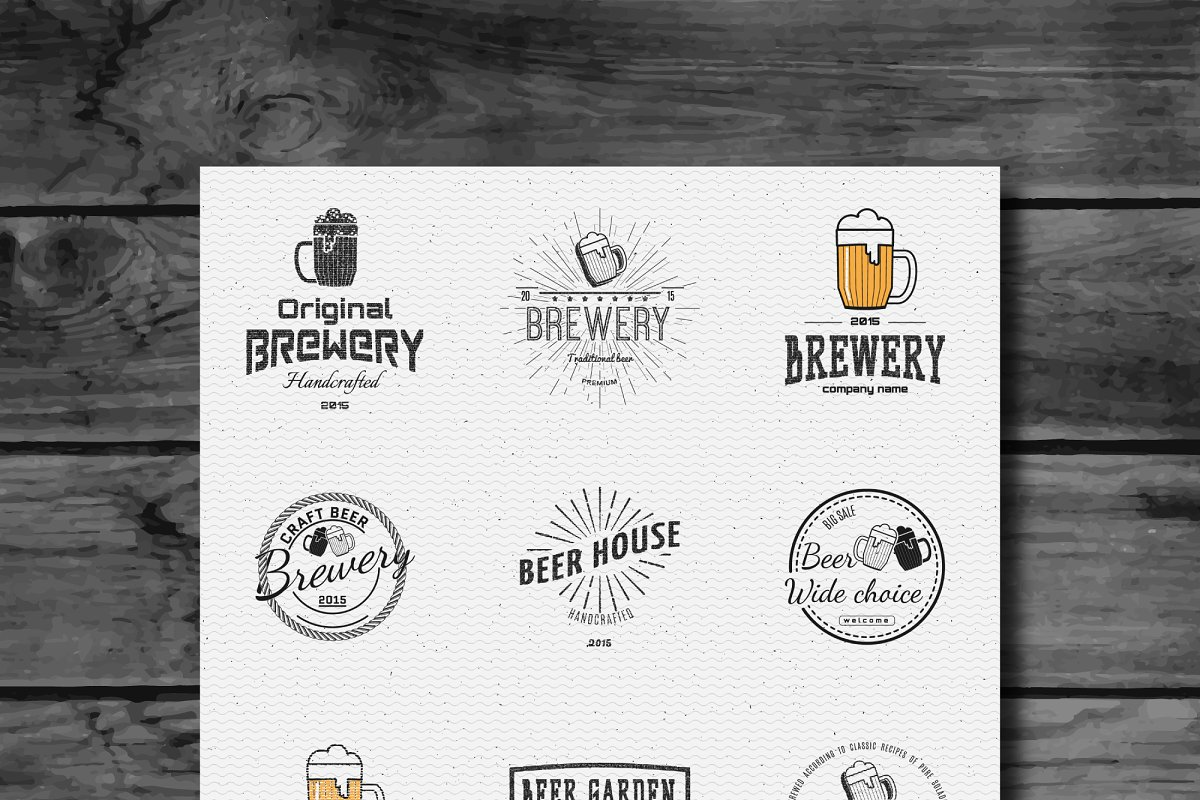 Beer vector set badges and logos in Logo Templates - product preview 8