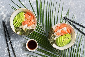 Bowl poke with salmon, rice, avocado