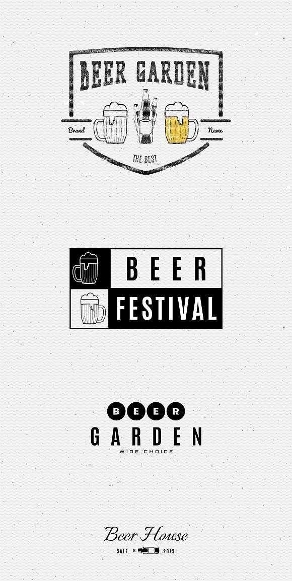Beer vector set badges and logos in Logo Templates - product preview 1