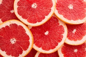 Close-up Grapefruit slices abstract