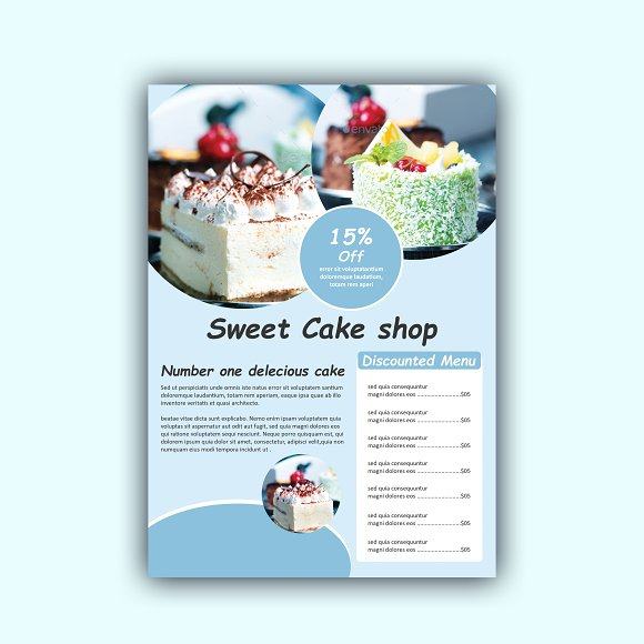 Cake Menu Design Flyer Templates Creative Market