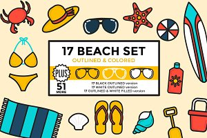 Beach Set Outlined & Colored