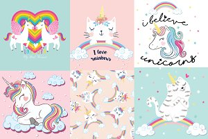 10 cute unicorn cartoon vector.