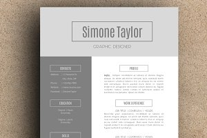 The Simone Resume Pack - Grey