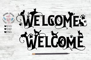 Welcome Cat Dog Sign Cut File