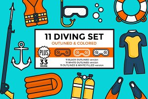 Diving Set Outlined & Colored