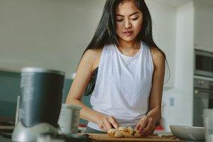 Woman preparing healthy juice