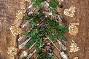 Christmas decoration cutlery cookies