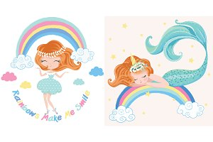 Mermaid Vector.Rainbow girl pattern.