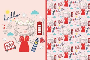 Cute london girl vector-pattern