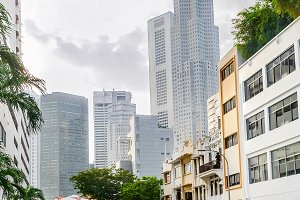 City street of Singapore downtown