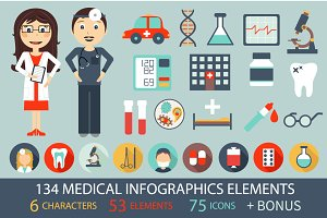 134 Medical infographic elements