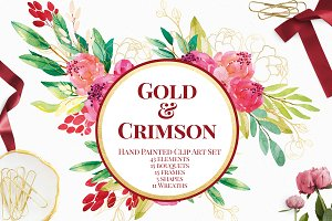 Crimson and Gold Watercolor Florals