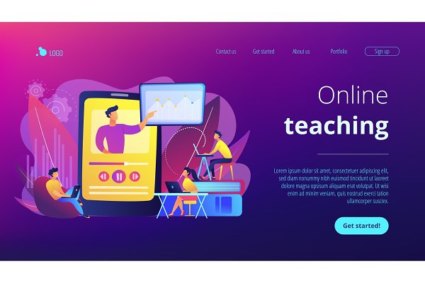 Online teaching concept landing pag…