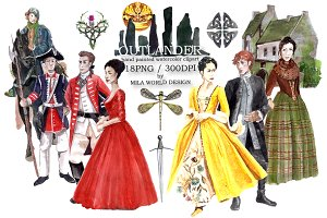 Outlander watercolor clip art