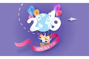 2019 Happy New Year design card with