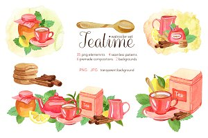 Teatime - Watercolor Clipart (Set)