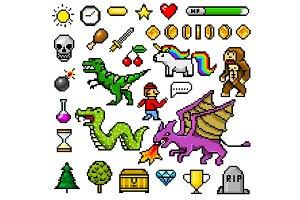 Pixel art 8 bit objects. Retro