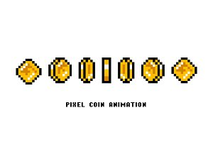 Animation of coins. Pixel art