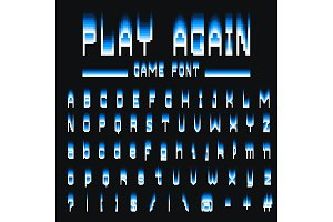 Pixel font. 8-bit symbols