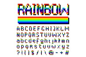 Pixel rainbow font. 8-bit