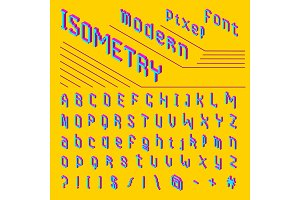 Pixel isometric font. 8-bit