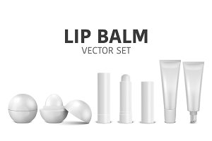 Lip Balm. Vector set.