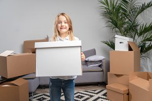 Picture of girl with cardboard box