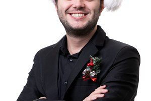 Image of happy man in santa cap with