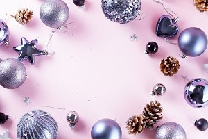 Gray Christmas decorations on pink