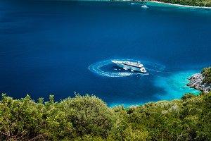 Luxury white yacht sail boat
