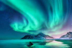 Aurora borealis. Northern lights