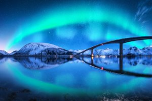 Bridge and aurora borealis