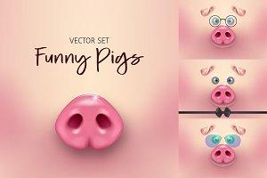 Funny Pig. Vector set.