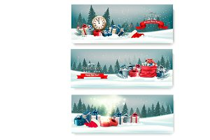 Three landscape Christmas banners