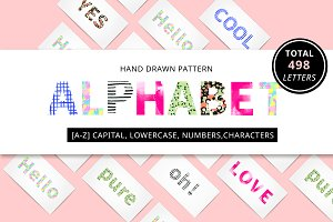 Hand drawn pattern alphabet