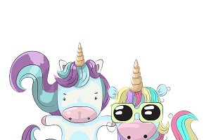 2 cute little unicorns
