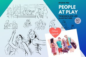 People at Play - b/w illustrations
