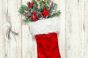Christmas stocking decoration pine b
