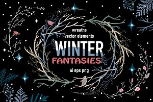 Winter Fantasies: vector wreaths