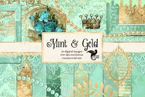 Mint and Gold Graphics