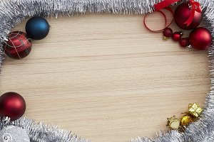 Christmas Frame Decorations On Wood