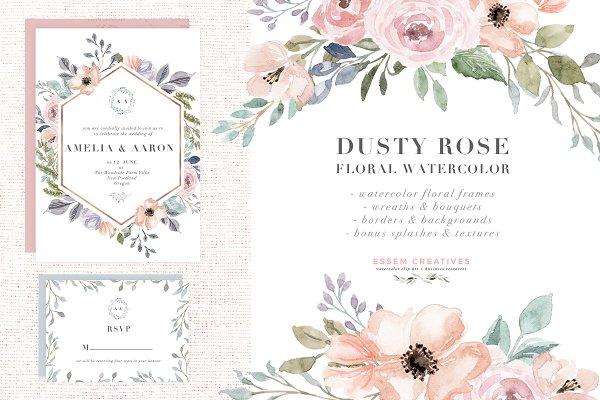 Dusty Rose Watercolor Flower Clipar…
