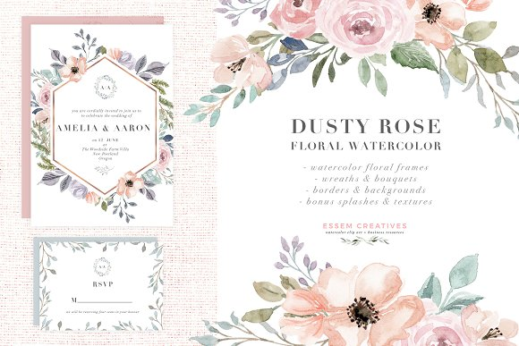 Watercolor flowers frame. Dusty rose flower clipart