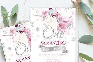 Unicorn 1s First Birthday Invite