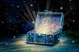 chest treasure with mystical light