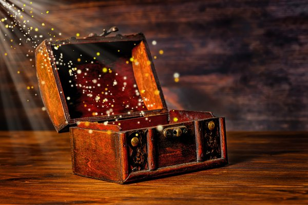 vintage chest treasure with light