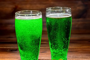 St Patricks day with glasses of gree