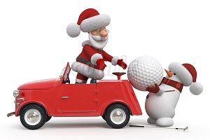 3d Santa Claus golfer by car